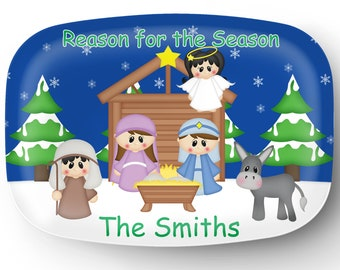 Personalized Platter - Custom Tray for Christmas - Personalized Nativity Serving Platter - Custom Melamine Platter