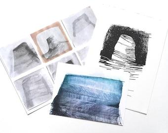 Black Nab art gift set - postcard, print, original screenprint gifts
