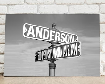 Personalized Black and White Intersection Street Sign Canvas Print - Personalized Intersection Street Sign Art - Father's Day Gifts - CA763