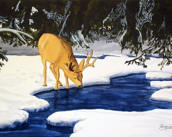 Lone Survivor, deer, winter, stream, landscape, 13x19 fine art Giclee print made from original watercolor painting, unmatted
