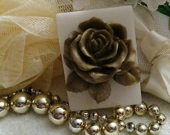 Gold Rose Soap~Rose Soap~Gold Roses Soap~Guest Soap~Decorative Soap~Gift Soap~Mothers Day Gift~Handmade Designer Soap~Gift For Women~