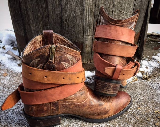 Rustic Mahogany OLD WEST Vintage Genuine Leather Adjustable Layered Boot Belts, One Pair - 2 Extra Long Boot Straps ~ Ready to Ship
