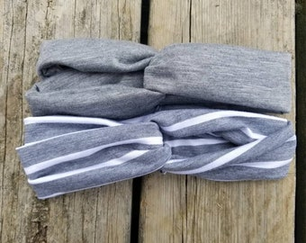 Gray knotted headwraps