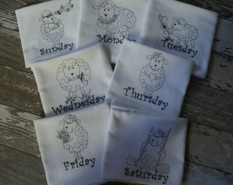 """Adorable Sheep """"Days of the Week"""" Dish Towels (Set of 7) - Made to Order"""