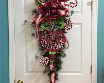 merry christmas door swag christmas swag for door front door christmas swag whimsical