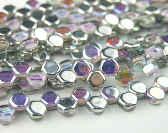 30x Czech Honeycomb Beads 6mm Hexagonal 2 Hole Crystal Silver Rainbow