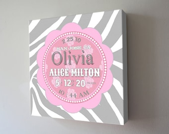 Girls Nursery Canvas Art ,Birth Announcement Canvas Print, Personalized Wall Hanging, baby shower gift