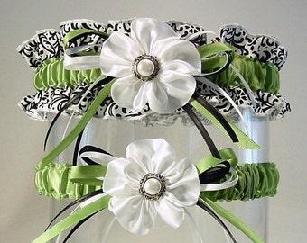 RESERVE ORDER for apcobbel  color changes KIWI KISSES style garter set COMBO 2 a PETERENE original design Damask