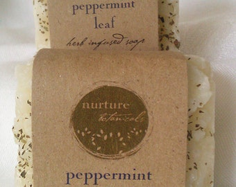 Vegan Peppermint Soap Handmade With Essential Oils and Organic Herbs