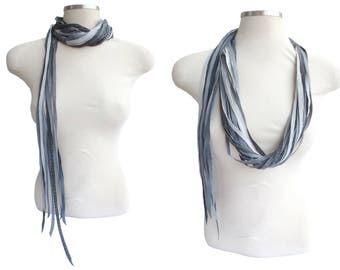Leather String Scarf, Leather Necklace, Long Grey Boho Necklace, Leather Wrap Choker, Festival Accessories, Unique Leather Jewelry, Gift