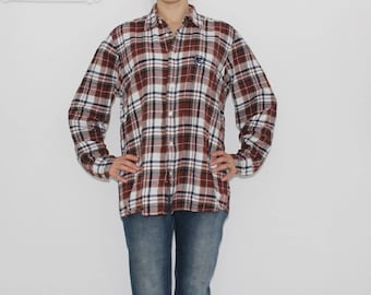 FLANNEL Plaid Shirt Red 80s Grunge Wine Red FADED Black Button Down Distressed Vintage Long Sleeve Women Men Oversized Soft Cotton Grunge