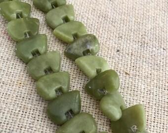 Butter Jade Zuni Bear Beads  16-17 beads
