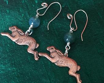 Copper Hare Green Moss Agate Earrings