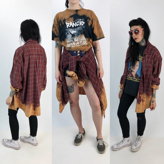 Dip Dyed Flannel 2XLT Bleached Grunge Long Sleeve Cotton Button Up - Soft Grunge Two Tone Red Plaid Tie Dye Ombre Flannel Mens Womens Unisex