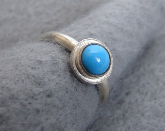 Sleeping Beauty Turquoise, Delicate Sterling Silver Ring, unique organic hand forged setting, blue stone jewelry, Alabama silversmith