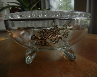 Viking Oval Footed Flower Bowl with Frog ~ Candlestick Holder ~ Silver Overlay ~ New Martinsville