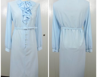 Vintage Blue Rufled Dress / Lady Windsor Dress / 60s 70s Retro Dress / Baby Blue Dress