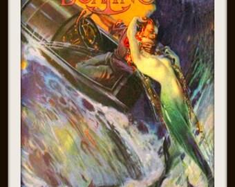 MERMAID Motor Boating Magazine Cover circa 1920- Giclee Fine Art Print - Mermaid Poster - Gift for Boater - Vintage Mermaid Art Print