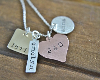 Unique Personalized Hand Stamped Mixed Metal Necklace More Precious Than Metals