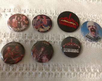 7 vintage rock and roll pins featuring Scorpion
