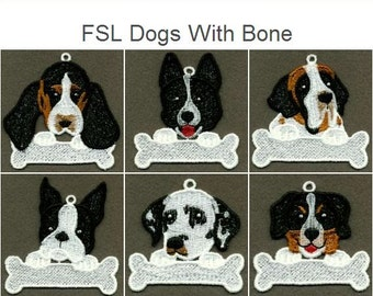 FSL Dogs With Bone Free Standing Lace Hanger Machine Embroidery Designs Instant Download 4x4 hoop 10 designs APE2029