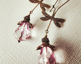 Dragonfly earrings, Dangle Earrings, Dragonfly Jewelry, Lilac Glass Earrings, gift for her