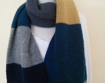 Hand Knit Scarf, Wool and Alpaca Color Blocks