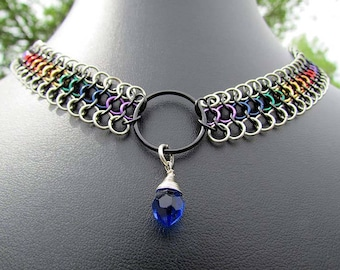 chainmaille jewelry,copper chainmaille,rainbow chainmaille,rainbow chainmail,rainbow necklace,enameled copper,european 4in1,pride necklace