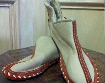 Gorgeous Handmade Organic Lamb Leather Slipper Shoe, Lamb Leather Babouche, Ethnic Leather Slipper wool lining size 9/10 US