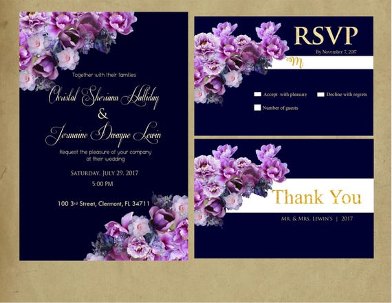 Purple And Blue Wedding Invitations: Navy Blue & Purple Purple Navy Shades Of Purple Wedding