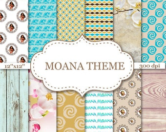 "MOANA THEME digital papers Light Blue Digital papers Floral Papers Wood scrapbook papers Moana Digital Paper Instant download 12""x12"" #P143"
