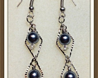 MWL diamond drop earrings, pearl and saworski crystals