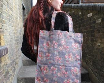 Shopper Bag in Floral 21 Greyish Vegan