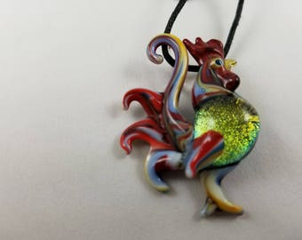 Rooster - Glass Pendant Necklace lampwork