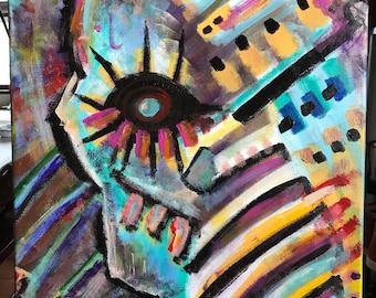 Original Abstract Painting by Jason Antonelli, Contemporary Art, Abstract Expressionism, Acrylic Paints, 16x20 inches, Beyond The Eye, Skull