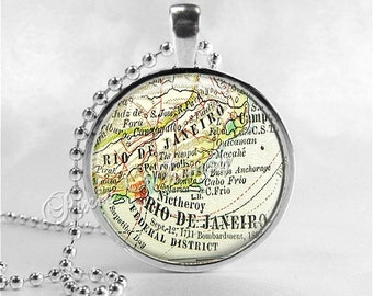 BRAZIL Map Pendant Necklace, Rio de Janeiro, Vintage Brazil Map, Antique Map Jewelry, Glass Photo Art Pendant, Brazil Souvenir