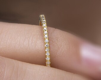 Diamond eternity band,  Micropave ring,  HALF around diamond band,  Thin diamond ring,  Eternity band,  Diamond ring, Stackable gold band