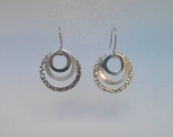Large Sterling Silver Multi-Hoop Drop Earrings -- Statement, Three Rings with Various Textures -- Mexican Design