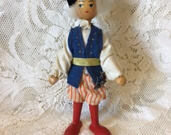 Vintage Polish Wooden Peg Doll - Polish Peg Doll - Russian Man Peg Doll - 1950s