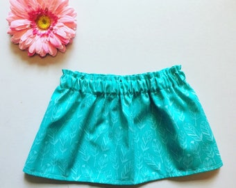 Turquoise feather print skirt turquoise baby skirt toddler skirt girl's clothing skirts children's clothing youth toddler fashion