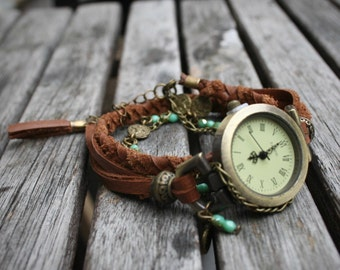 Boho watch bracelet for women , brown braided leather , oriental style charm and turquoises precious stones. -MO06-