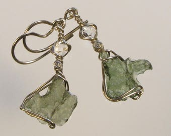 Czech MOLDAVITE & HERKIMER Diamond Quartz CRYSTAL, New York, in Argentium Sterling Silver Wire Wrapped Earrings Intuitively Inspired Designs
