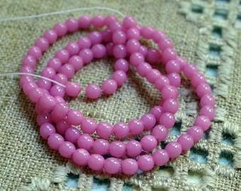 100pcs 4mm Bubblegum Pink Preciosa Czech Pressed Glass Beads Druk Round 16in
