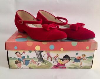 Vintage 1950s Girls' Red Velvet Step Master Scamperoos Red Velvet Mary Jane Shoes Like New