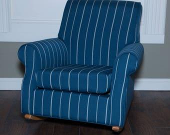 Upholstered Blue and White Striped Rocker   Upholstered Vintage Furniture