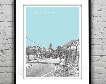 Kennebunkport Skyline Poster Art Print Maine ME Version 1