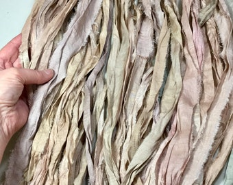 10 yd Recycled Sari Silk Ribbon Tan Jewelry Tassel Craft Ribbon Dreamcatcher Jewelry Free Combined Shipping Fair Trade  Fiber Art Supply