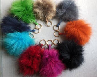 15cm Real Raccoon Fur Pom Pom Keychain Pom Pom Balls with Key Ring
