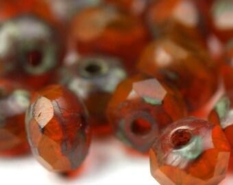 Czech Glass Beads Fire Polished Gemstone Donuts 3x5mm Milky Orange Picasso (30) CZF370