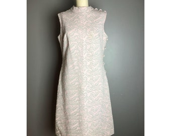 1960's vintage pink and silver polyester button dress